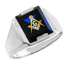 Solid White Gold Freemason Blue Stone Square Compass Masonic Mens Ring Letter G