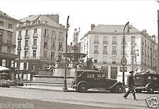 Place Royale à Nantes Fontaine et Voitures Anciennes  - Repro Photo ancienne
