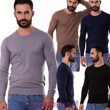 Maglione uomo pullover maglia girocollo maniche lunghe elasticizzato nuovo 5239