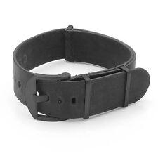 DASSARI Veteran Leather Watch Mens Vintage Strap in Black w/ Black Hardware
