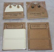 20 X Pré Enfilées Marron bagages Labels Tags Prix étiquettes-cadeaux Craft CARTES 12 x 6 cm