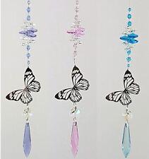 🌈jll- Silver butterfly Crystal Suncatcher #2 car mirror hanging rainbow pendant