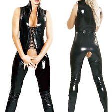 Women Catsuit PVC Leather Crotchless Wetlook Fancy Costume Jumpsuits Romper