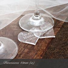 Personalizados 4cm claro acrílico corazón Boda favorece Para Invitaciones Decoraciones