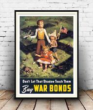 Buy War bonds : Vintage US Wartime advert, Wall art , poster, Reproduction.