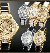 Ladies Fashion Donna Bracciale Rotondo Argento Oro Designer Style Orologi di cristallo