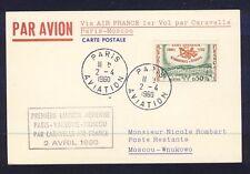 46127) Air France FF Paris (- Warschau) - Moskau 2.4.60, card Karte