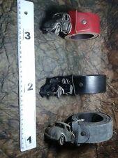 CINTURA PELLE 4 CM FIBBIA GIOIELLO AUTO CAR artigianale vintage BELT BUCKLE ME5