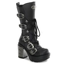 "Demonia Black 3.5"" Chromed Heel Multi-Strap Buckle Calf Boots 6 7 8 9 10 11 12"