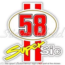 MARCO SIMONCELLI 58 Super Sic Moto GP Vinyl Fahrradhelm Sticker, Aufkleber 100mm