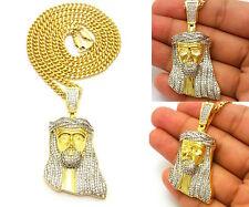 MENS GOLD JESUS PENDANT STAINLESS STEEL CUBAN CHAIN NECKLACE HIP HOP
