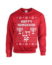 Happy Hanukkah Lit AS F$$K Unisex Crew Sweatshirt 1723