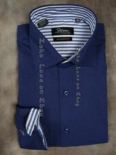Mens STEVEN LAND SL Dress Sport Shirt Blue Fuchsia Micro-Dot Pattern Modern Fit