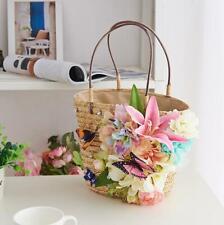 Chic Design Flowers Weave Handbags Womens Summer Beach Bags Bohemia Small Totes