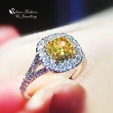 18K White Gold Plated Simulated Diamond Cushion Cut Halo Engagement Wedding Ring