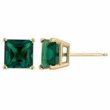 Yellow Gold Princess Emerald Stud Earrings 1.50 - 2.60 Carat 14K Solid