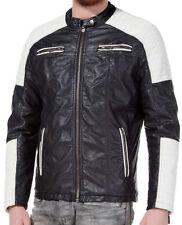 Redbridge Herren Contrast Biker Jacke Kunst- Lederjacke schwarz weiss M6014