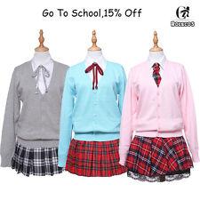 Japan School Uniform Cosplay JK Girls Sweater Shirt Pleated Skirt Suit Costume