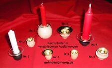 Kerzenhalter Holz, Kerzentuellen, Glasmanschetten, Tropfenfaenger, Kerzentülle
