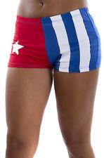 AG C0107-10 ALMA CUBANA PANTALONCINO DONNA BANDIERA  CUBA FLAG COTONE BIELASTICO