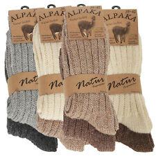 2 Alpaka Socken Herren Damen Wollsocken Schafswolle dick gestrickt Strümpfe