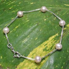 Lavender Cultured Pearl Bracelet w/ 925 Sterling Silver Box Chain Links - Tpj