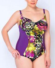 Badeanzug mit Bügel für Damen 40373 Lila-gemustert Gr. 42-52 Cup. H-J