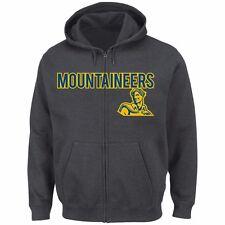 West Virginia Mountaineers Go To Move Full Zip Charcoal Grey Hoodie Fleece Men's
