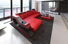 Ledersofa RAVENNA L Form Luxussofa Couch mit LED Beleuchtung und USB rot-schwarz