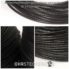 Baumwollbänder geflochten+gewachst Ø 1 + 1,5 mm/ Länge 1 m bis 10 m