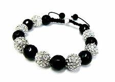 Crystal Ball Black Onyx Color Shamballa New 12 mm Buddhist Macrame Bracelet 1273