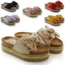 Damen Schleife Flachform Sandalen Peep Toe Damen Pearl Nieten Wedges Schuhe Plateau