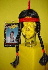 WH Ladies Fancy Dress Costume Accessories Long Plaits Western Indian Black Wig