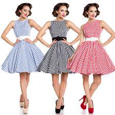 Vintage Karo Kleid Retro Rockabilly Vintagekleid 50er Schwarz Rot Blau 34-46