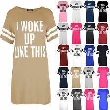 Ladies Print I Woke Up Like This Oversize Shift Dress Womens Cap Sleeve T Shirt