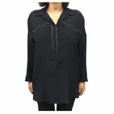 8PM camisa de mujer seda negra con tachuelas mod PENÉLOPE MADE IN ITALY