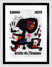 ADVERT CHARITY UNESCO JOAN MIRO ABSTRACT RIGHTS MAN FRAMED ART PRINT B12X4347