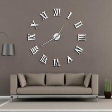 Modern DIY Large Wall Clock 3D Mirror Surface Sticker Home Decor Art Giant Wall