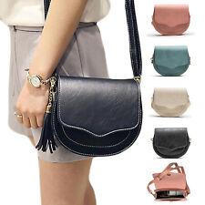 Women Girl PU Faux Leather Handbag Shoulder Bag Tote Saddle Bag Messenger UK New