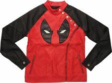 Marvel New Deadpool Embroidered Face Zipper Moto Jacket