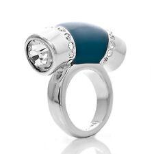 size 7 8 10 Lia sophia silver tone jewelry cut CZ crystal ocean blue Ring RV$78