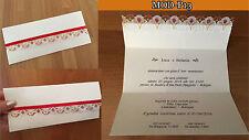 Partecipazioni Matrimonio Nozze, fatte a mano, MOD-P13 eleganti, pizzo oro rosso