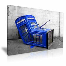 Banksy BLU Londra Telefono Box GRAFFITI WALL ART PRINT incorniciato tela BOX ~ 1 Pannello