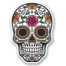 2 x Autocollant Vinyle sugar skull decal iPad Portable Voiture Casque de Cycliste filles #, 4675 / sv