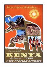 East African Airways Kenya Vintage Airline Advert Print Airways Old Photo Poster