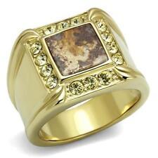 Mens gold ring signet Semi-Precious Smoked Quartz 18kt steel brown gemstone3013