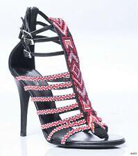 new $1295 GIUSEPPE ZANOTTI for BALMAIN black red BEADED T-strap shoes 38 8 -sexy