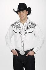Camisa para hombre vaquero occidental Bordado Hoja Retro Blanco