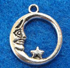 10Pcs. Tibetan Silver MOON w/ Star Charms Pendants Earring Drops Findings UP18