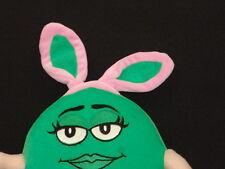 POSEABLE SEXY PINK BUNNY RABBIT EARS M&M CANDY PLUSH STUFFED ANIMAL GREEN GIRL